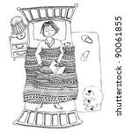 boy sleeping in bed | Shutterstock .eps vector #90061855