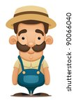 agriculture,art,brown,bumpkin,caricature,cartoon,character,country,cute,design,drawing,farm,farmer,fork,hat