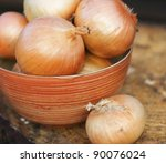 self grown onions in a bowl | Shutterstock . vector #90076024
