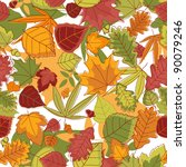 Autumn leaves seamless background for seasonal design. Vector version also available in gallery - stock photo