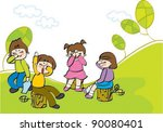 kids playing outdoor | Shutterstock .eps vector #90080401