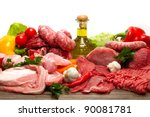 fresh butcher cut meat... | Shutterstock . vector #90081781