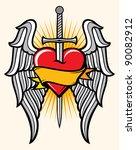 heart  sword and wings | Shutterstock .eps vector #90082912