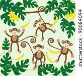 four cute cartoon monkeys...   Shutterstock .eps vector #90084094