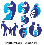 vector set of people  family... | Shutterstock .eps vector #90085147