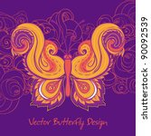paisley butterfly. hand drawn... | Shutterstock .eps vector #90092539