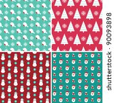 christmas seamless patterns set | Shutterstock .eps vector #90093898