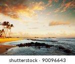 Beach on sunset - stock photo