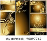 gold merry christmas and happy... | Shutterstock .eps vector #90097762
