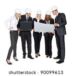 team of confident architects... | Shutterstock . vector #90099613