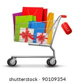 shopping cart full of shopping... | Shutterstock .eps vector #90109354
