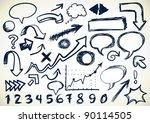 hand drawn set of arrows ...   Shutterstock .eps vector #90114505