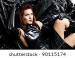 portrait of sitting woman... | Shutterstock . vector #90115174