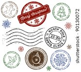 christmas stamp set isolated on ...