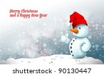 Snowman With Santa\'s Hat In...