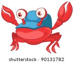 Cartoon Character Crab Isolate...