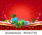 christmas background with gifts | Shutterstock .eps vector #90141733