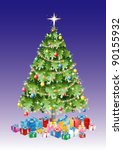 christmas tree with decorations ... | Shutterstock .eps vector #90155932