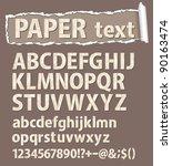 paper vector font. letters ... | Shutterstock .eps vector #90163474