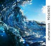 Swirled Blue Colored Ocean Wav...