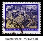 austria circa 1986 a stamp... | Shutterstock . vector #90169558