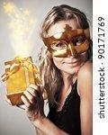 Stylish Woman Wearing Golden...