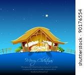illustration of nativity scene... | Shutterstock .eps vector #90176554