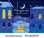 winter  a cafe with a couple in ... | Shutterstock .eps vector #90180499