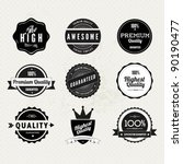 Stock vector collection of premium quality and guarantee labels with retro vintage styled design 90190477