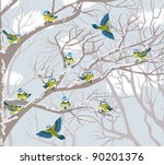 flock of blue tits perching on... | Shutterstock .eps vector #90201376