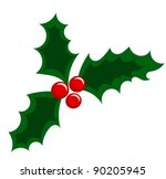 Holly berry Christmas illustration - stock vector