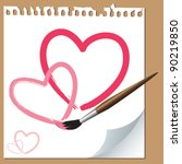 Hand Drawn Hearts On Paper Wit...