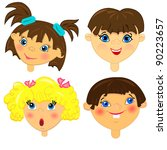 kid faces vector set.isolated... | Shutterstock .eps vector #90223657