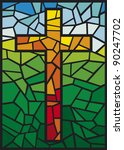 Cross In Stained Glass Style