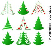 christmas trees set | Shutterstock .eps vector #90272221