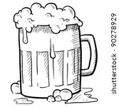 Doodle style frothy beer mug vector illustration - stock vector