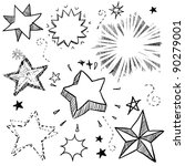 Doodle style star, explosion, and firework vector illustration.  Can also be used as stickers or badges. - stock vector