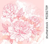 beautiful peony  bouquet design ... | Shutterstock .eps vector #90282709