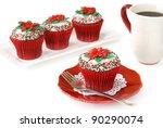 Christmas decorated chocolate cupcakes - stock photo