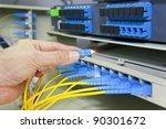 man working in network server... | Shutterstock . vector #90301672