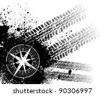 black grunge tire track... | Shutterstock .eps vector #90306997