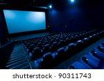 dark movie theatre interior.... | Shutterstock . vector #90311743