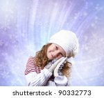 cuty little girl in winter wear ... | Shutterstock . vector #90332773