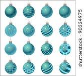 set of christmas balls... | Shutterstock .eps vector #90334975