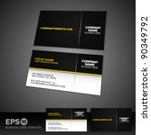 Black and yellow business card template with patterned background | Shutterstock vector #90349792