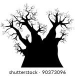 Silhouette of baobab tree