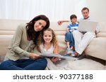 family spending leisure time in ... | Shutterstock . vector #90377188