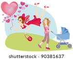 Voluntary abandonment from children and the joy of domestic life with children - stock vector