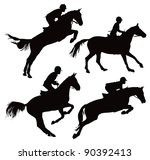 Stock vector jumping horses with jockey vector illustration on white 90392413