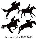 jumping horses with jockey....
